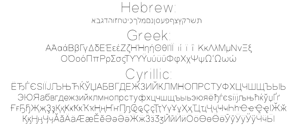 OLF Simple Sans Regular + Cyrillic, Greek, & Hebrew