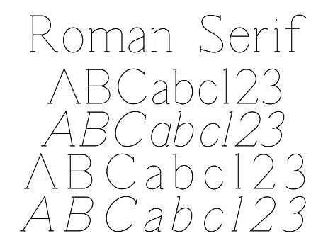 Roman Serif : OneLineFonts, The source for single line fonts